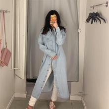 Women's Trench Coat 2020 Spring New Casual Long Lapel Long-sleeved Loose Denim L