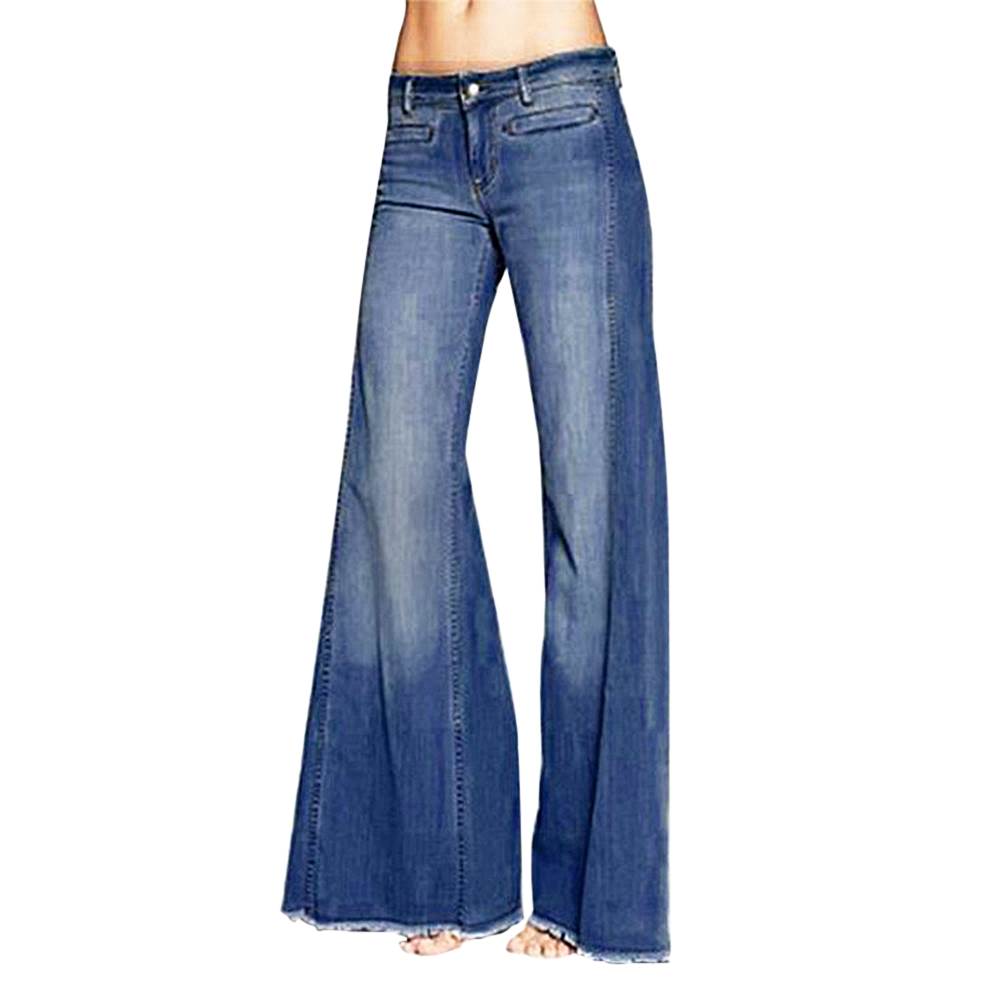 Adisputent 2020 Women Hight Waist Wide Leg Denim Jeans Stretch Slim Pants Length Jeans Slim Button Pockets Pants Women Jeans
