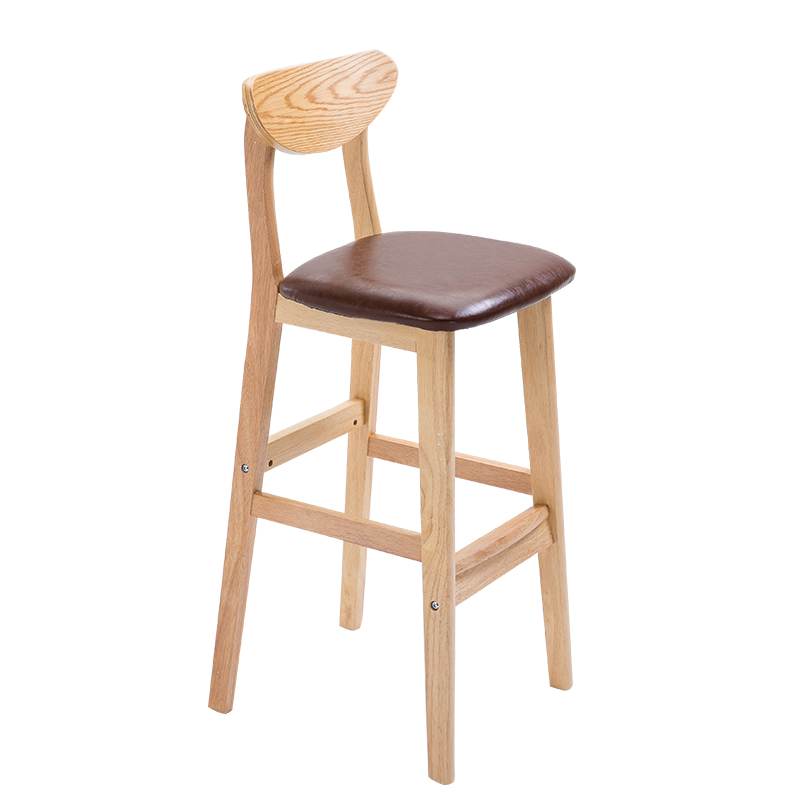 Bar Chair, Solid Wood Stool, Family Back Bar Stool, Modern Simple Bar Chair, Front Desk Stool, Northern Europe Bar Chair