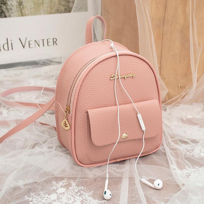 Mini Backpack Women PU Leather Shoulder Bag For Teenage Girls Multi-Function Small Bagpack Female Fashion Ladies School Bags