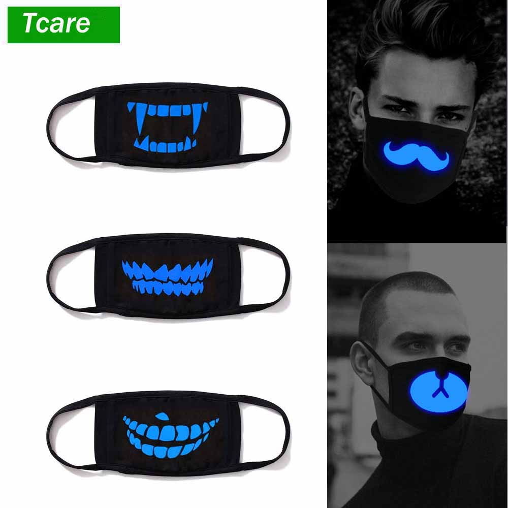 1Pcs Luminous Cotton Unisex Anti-dust Black Mouth Mask Cover With Glowing Blue Vampire Teeth Print For Men Women Boys Girls