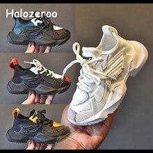 Novo outono crianças tênis casuais do bebê meninas malha sapatos da criança meninos marca chunky tênis crianças preto esporte sapatilhas formadores