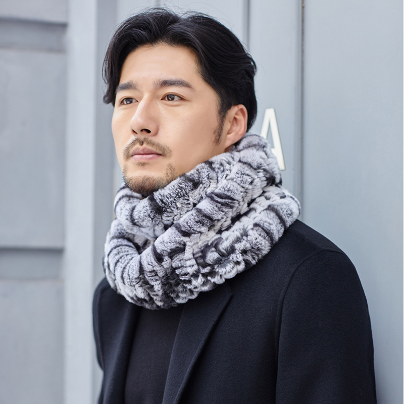 YCFUR Winter Warm Ring Scarf for Men Thick Fluffy Real Fur Scarves Male Super Elastic Neck Warmer Scarf Neckerchief Men