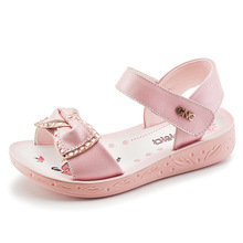 Kids Sandals 2019 Summer Genuine Leather Children for Girls Bowtie Princess Shoes Breathable Baby