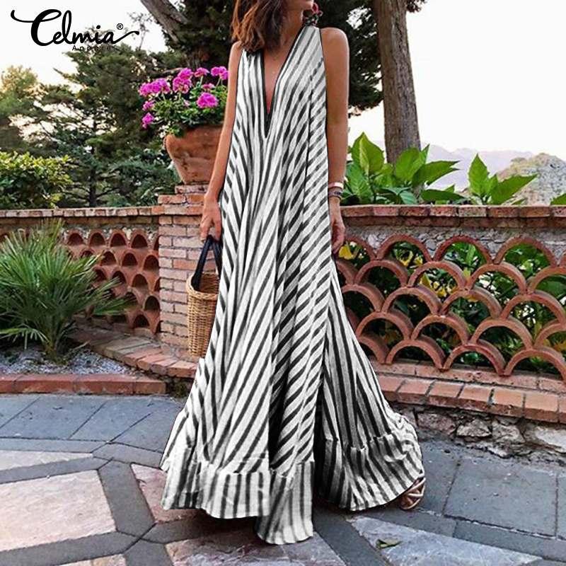 Celmia Summer Maxi Long Dress Women Bohemian Striped Sundress Ladies Sexy V-neck Casual Ruffled Vestidos Party Robe Plus Size