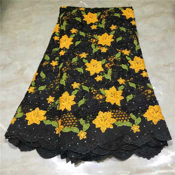 Newest African Guipure Cord Lace Fabric High Quality French Water Soluble Cord Lace Fabric With Stones For Nigerian Dress WD0815