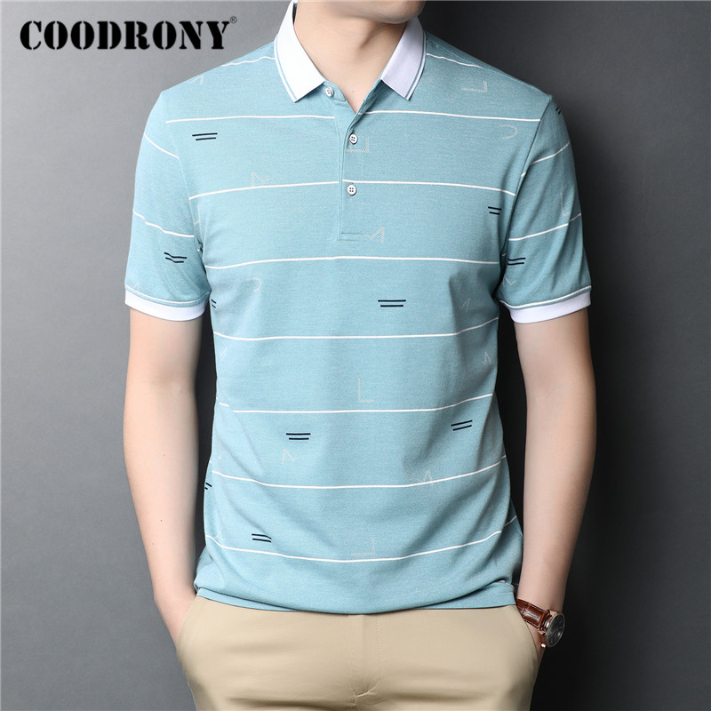 COODRONY T Shirt Men Spring Summer Short Sleeve T-Shirt Business Casual Fashion Striped Turn-down Collar Tee Shirt Homme C5027S
