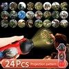 T5EC 24 Patterns Children Sleep Light LED Flashlight Cartoon Dinosaur Projector Lamp