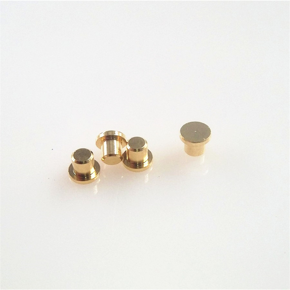 100pcs Target Contact For Spring Loaded Pogo Pin Flange Diameter 3.0 Mm Height 2.0 Mm Flat Surface Circular Gold Plated