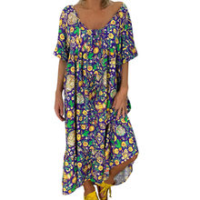 JAYCOSIN Boho floral print Women's summer dress Ladies Loose plud Print Short Sleeve Maxi Long Dress beach casual vestidos 9806(China)
