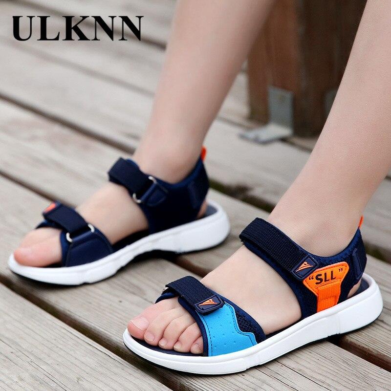 ULKNN BOY'S Sandals 2020 Summer New Style CHILDREN'S Beach Shoes Kids Soft Bottom Sandals Big Virgin Boy Sandals