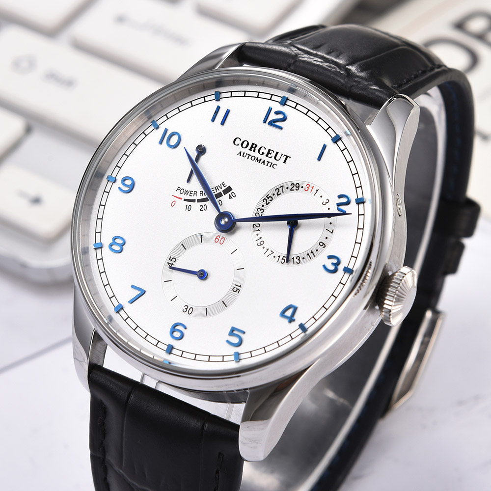 Corgeut 42mm Watch Men Seagull Automatic Mechanical Mechanical Wristwatches Kinetic Energy Date Waterproof 316L Stainless Steel