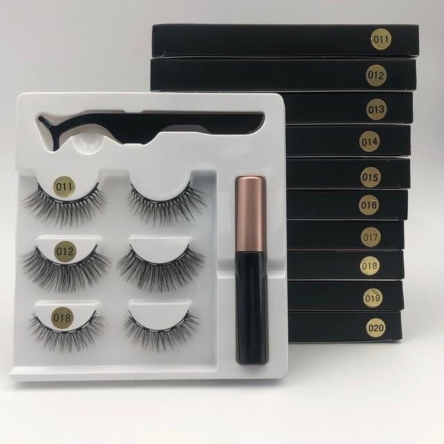 Makeup 3 pairs of magnetic eyelashes + liquid eyeliner + tweezers, waterproof long lasting eyelash extension eyelash set 3