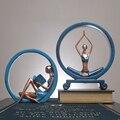 Креативный скандинавский домашний Декор статуя девушки йоги Статуэтка украшение дома аксессуары украшение стола скульптура из смолы совр...