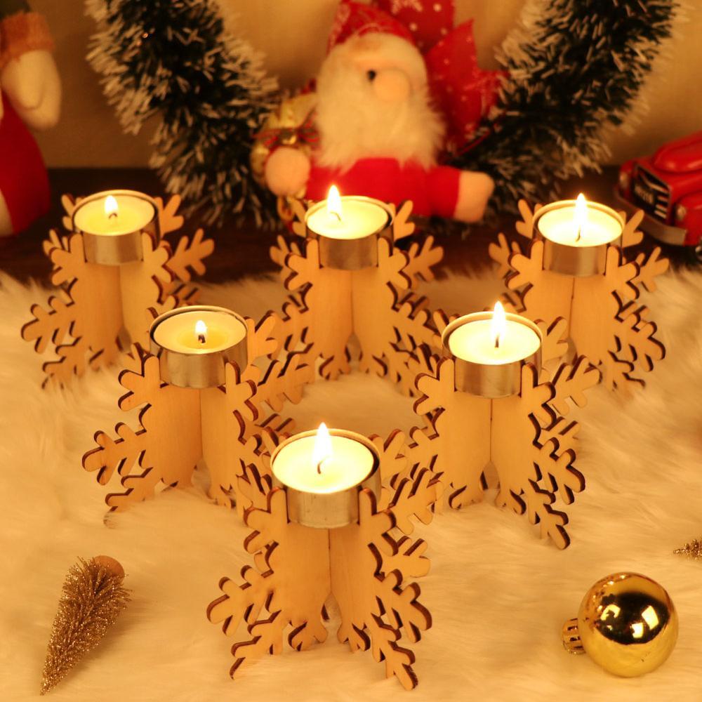 OurWarm 6 pièces bricolage bois coupe Laser flocon de neige support de bougie chauffe-plat 12x8cm Vintage noël bougie Stand bougies décoration de la maison