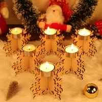 OurWarm 6 stücke DIY Holz Laser Cut Schneeflocke Tee Licht Kerze Halter 12x8cm Vintage Weihnachten Kerze Stehen kerzen Home Dekoration