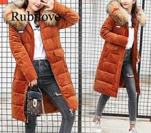 Fashion Winter Jacket Women Big Fur collar Hooded Thick Down Parkas Long Female Coat Slim Warm Winter Outwear 2019 New 2016 european and american female winter hooded down jacket big yards thick warm coat hot new