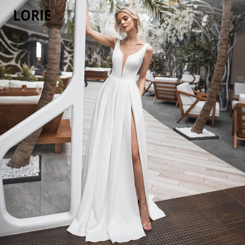 LORIE Sleeveless Satin Wedding Dresses 2019 Open Back V-neck Simple White Ivory Bech Bridal Gowns With Split Gelinlik Plus Size