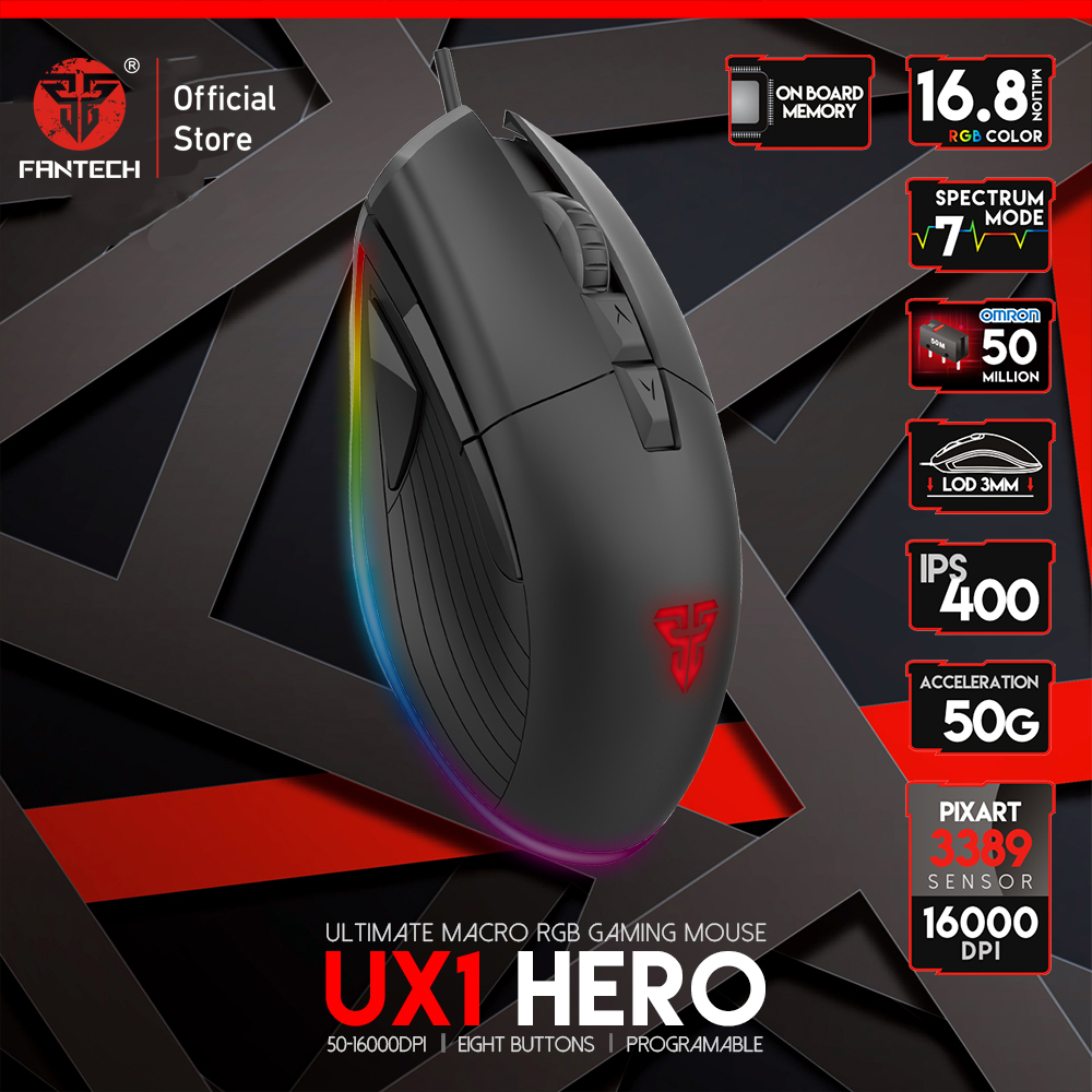 FANTECH UX1 Adjustable 16000 DPI 8 Button Macro USB Cable Mouse Top Level Configuration Profession Gaming Mouse For Mouse Gamer|Mice| |  - title=