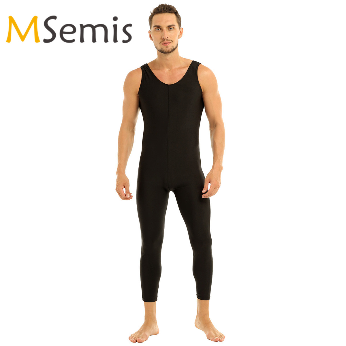 Mens Gymnastics Leotard Dancewear Adults Well Fit One Piece Scoop Neck Sleeveless Skin-Tight Solid Color Vest Unitard Bodysuit