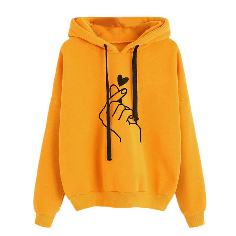 CALOFE Women Hoodie Sweatshirts Heart Finger Pattern Drawstring Long Sleeve Ribbed Cuffs Casual Loose Pullover Lady Hooded Top