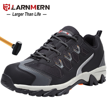 LARNMERN Men's Work Safety Shoes Steel Toe Cap Outdoor Sneaker Boots Breathable Safety Protection Footwear With Reflective