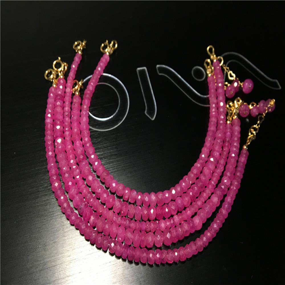 Loose Beads  Nature Pink RED Sapphire Roundel FACETED  3-4mm 19cm FPPJ Wholesale Beads Nature