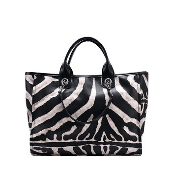 Large Capacity Fashion Zebra Pattern Handbags Big Women Tote Bag High Quality Leather Casual Female Shoulder Bags  Messenger Bag cow leather women handbags 2020 fashion large capacity shoulder messenger bag high quality ladies casual tote louis vuitton bags