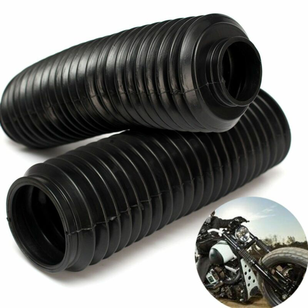 2pcs 230mm Motorcycle Fork Rubber Gaiter Boot Front Fork Shock Absorber Dust Cover Black  Rubber