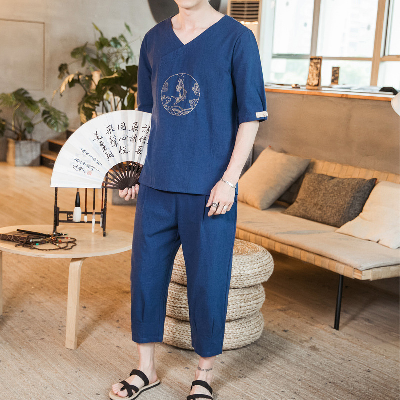 New Style 2019 Summer Men's Chinese-style Men'S Wear Embroidered Flax Set Capri Pants Short-sleeved Top Chinese Costume