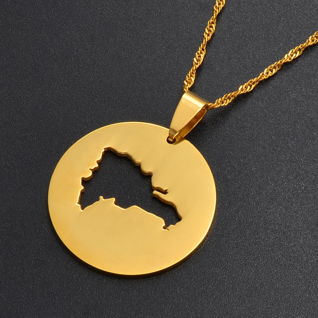 Anniyo The Dominican Republic Map Pendant Necklaces for Women/Men Gold Color Jewelry Map of Dominica Patriotic Gifts #016321