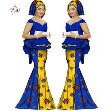 夏のスカートセットアフリカ 女性の伝統的なバザンプリントプラスサイズ 2 dashiki
