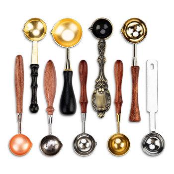 Łyżka do roztapiania laku pieczęć pieczęć koraliki na Vintage Craft koperta ślubna woskowa pieczęć starożytna pieczęć wosk pieczęć drewnianym uchwytem łyżeczka tanie i dobre opinie CN (pochodzenie)