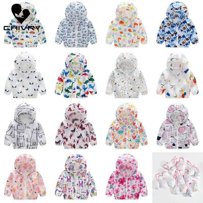 2019 Kids Clothes Boys Jackets Children Hooded Zipper Sun Protection Baby Fashion Print Coat Infant Waterproof Hoodies For Girls