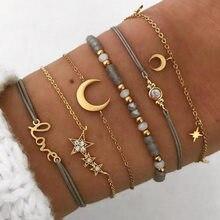 Boêmio feminino mapa lua corrente pulseiras pulseiras moda vintage ouro cor seta pena corda corrente pulseiras conjuntos jóias