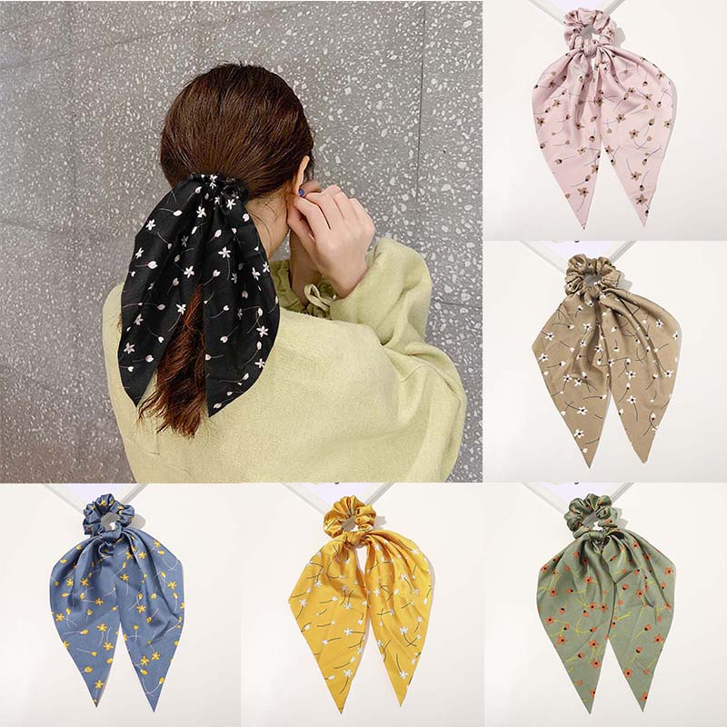 1Pc Spring Pure/Leopard/Floral Print Hair Ties Elastic Hair Rope Bow Scrunchies Women Ponytail Rubber Bands Ribbon Hairbands
