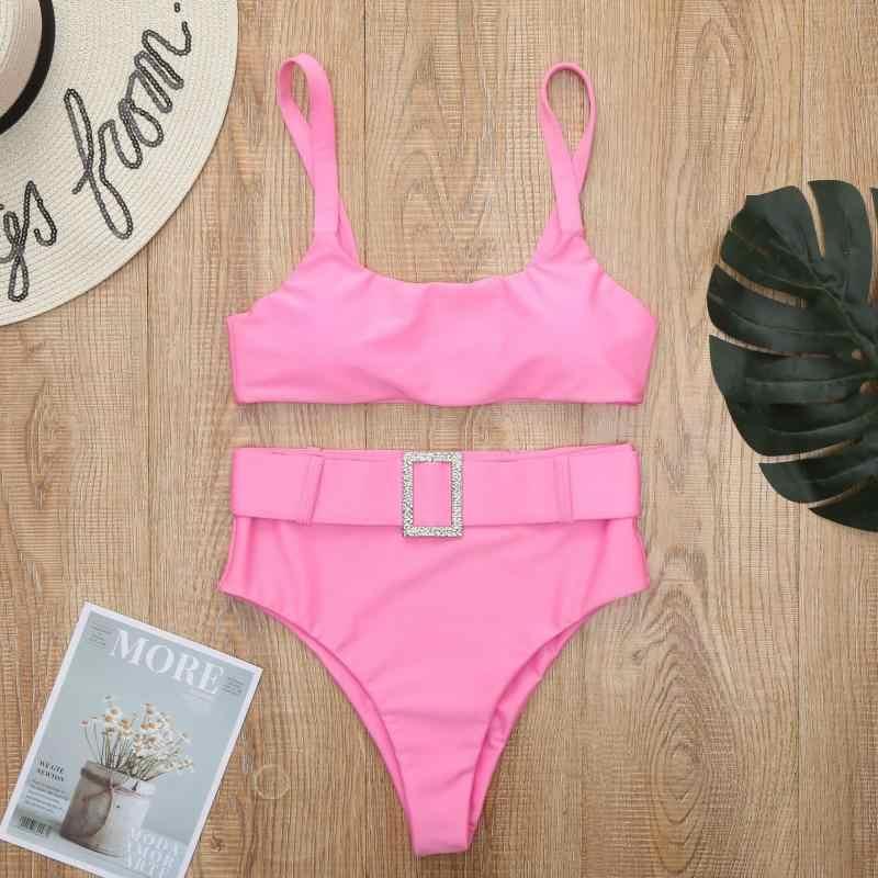 Newasia cinto de cristal fivela sexy banho feminino rosa ush up bikini 2020 cintura alta maiô brasileiro verão biquin