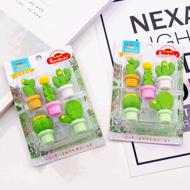 Cactus Eraser Novelty Kids Prize Cactus Series Eraser Set Creative Kids Eraser 10 Sets/lot