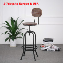 iKayaa Industrial Style Bar Stool Height Adjustable Swivel Kitchen Chair Pinewood Metal With Backrest Bar Stools US WAREHOUSE(China)