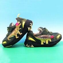 DINOSKULLS, осенние детские кроссовки для мальчиков, теннисные светящиеся кроссовки для маленьких детей, T-rex светодиодный светильник, сетчатая дышащая школьная спортивная обувь