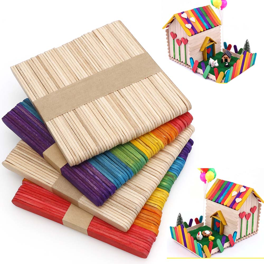 50pc Natural Wooden Popsicle Ice Cream Sticks Popsicle Sticks DIY Craft Child Made House Supplies Kids Handwork Art Crafts Toys