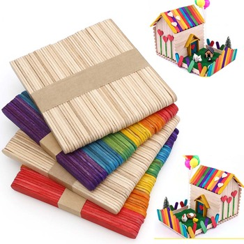 50pc Natural Wooden Popsicle Ice Cream Sticks Popsicle Sticks DIY Craft Child Made House Supplies Kids Handwork Art Crafts Toys фото
