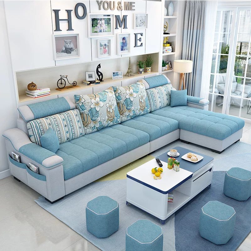Fabric Sofa Living Room Simple Modern Fabric Sofa