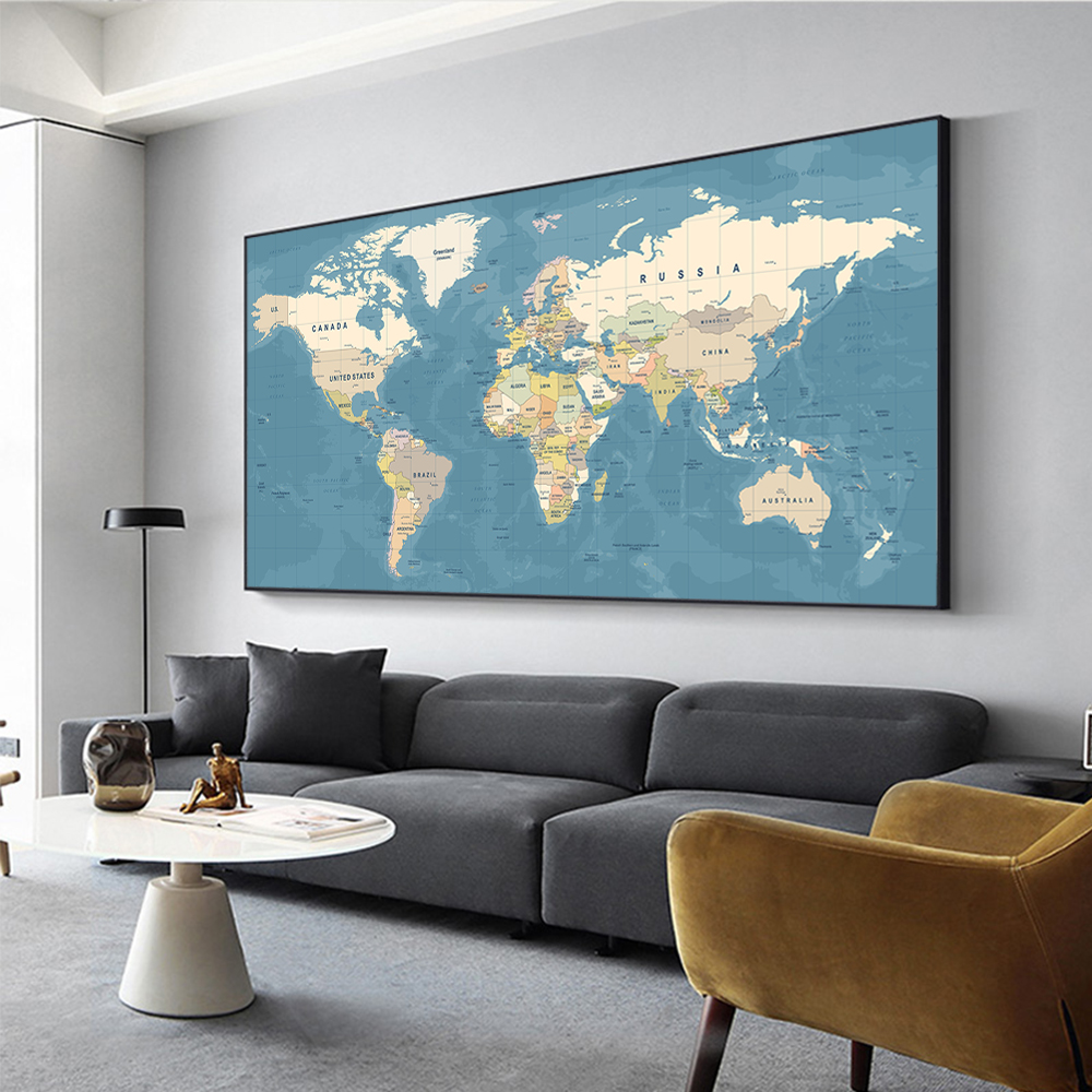 Big Size Wall Painting World Map Oil Painting on Canvas Posters and Prints Modern Wall Art Picture 3set for Living Room