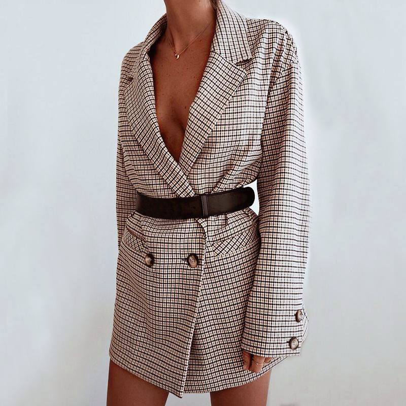 Plaid Blazer Casual Long Sleeve Women Wrap Jacket Autumn Winter Oversized Streetwear Elegant Office Lady Dress Bodycon