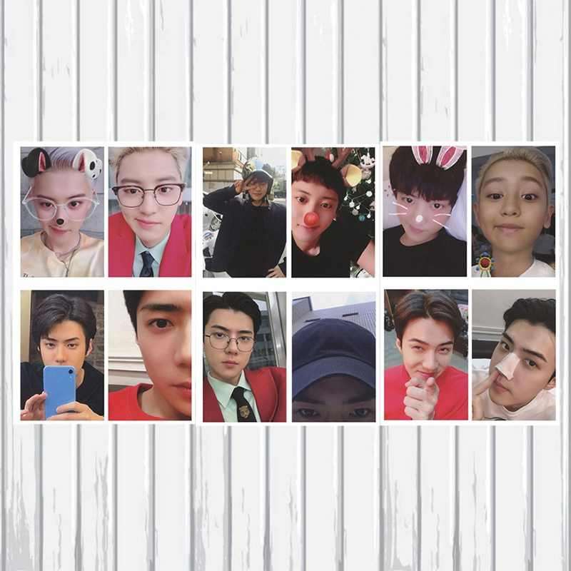4 Buah/Set Kpop EXO Chanyeol Sehun Sendiri Dibuat Kertas LOMO Kartu Kartu Foto Poster HD Pas Foto Penggemar Koleksi Hadiah
