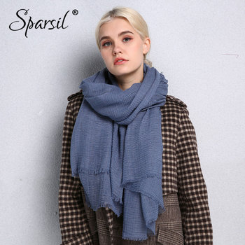 Sparsil Spring New Cotton Women Scarf Solid Color Crumple Retro Scarves With Short Tassels 180cm Big Shawls Muslim Female Hijabs new cotton women scarf solid color crumple retro scarves with short tassels 180cm big shawls muslim female hijabs