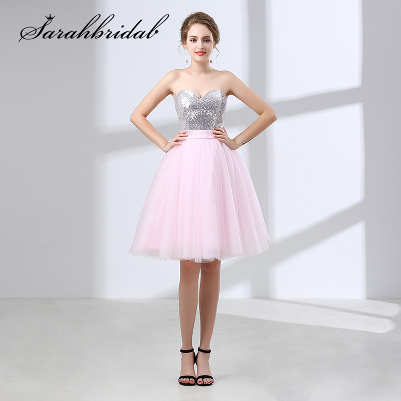 New Sweet Short Homecoming Dresses Women Sequin Tulle Pink Sweetheart A Line Bow Graduation Cocktail Party Gown Real Photo 6637
