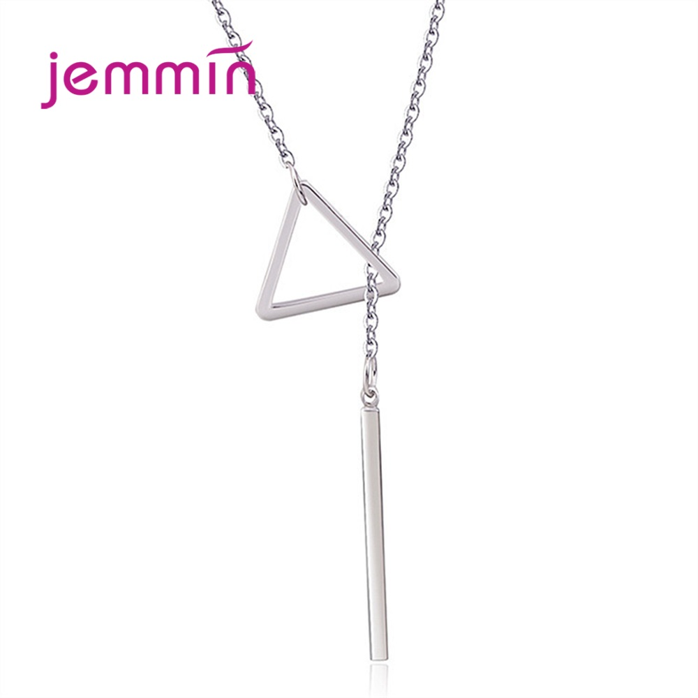 Fashion 925 Sterling Silver Round Circle/Triangle Long Tassel Necklace Women Exquisite Pendant Necklace Sweater Accessories Gift