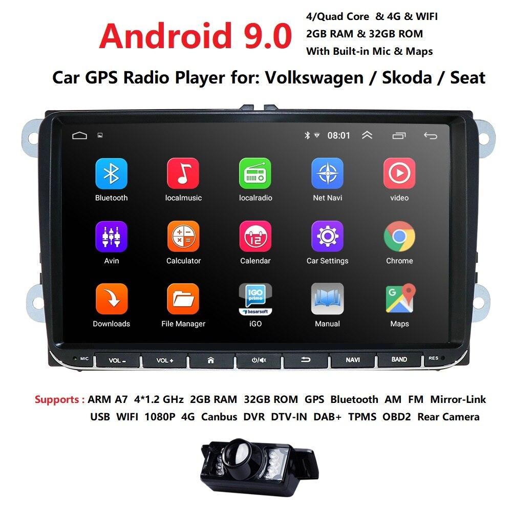 2Din lecteur multimédia de voiture 2G RAM Android 9.0 GPS pour V W/Golf/Tiguan/Skoda/Fabia/Rapid/Seat/Leon/Skoda RDS commande de roue en acier